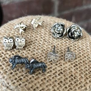 Jewelry - 5 Pairs of Tiny Post Earrings Tigers Owls Birds